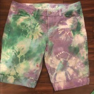 Tie dye Jean shorts by the loft